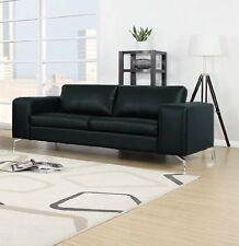 Couch 2er Sofa Wohnlandschaft Garnitur Lounge Wohnzimmer Kunstleder Schwarz