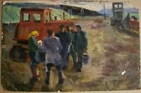 Russian Ukrainian Soviet Oil Painting Landscape realism tractor sowing farmers