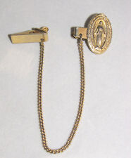 Vintage SWEATER CLIPS or Guard with BLESSED MARY Medal and Goldtone Chain