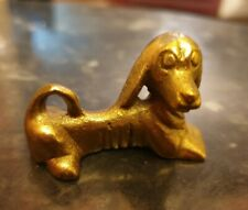 "RARE SMALL VINTAGE BRASS DACHSHUND/SAUSAGE DOG COLLECTABLE FIGURINE 2"" LENGTH"