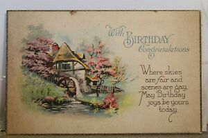 Greetings With Birthday Congratulations Skies Fair Gay Postcard Old Vintage Card
