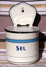 ANTIQUE FRENCH ENAMELWARE SEL/SALT BOX  GRANITEWARE