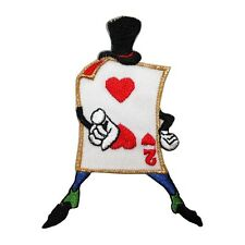 ID 8560 Two 2 of Hearts Playing Card Man Embroidered Iron On Applique Patch