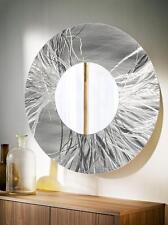 Large Round Silver Contemporary Metal Wall Mirror Art Accent Decor by Jon Allen
