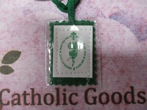 Green Laminated Scapular - Devotion to The Immaculate Heart  of Mary -  NEW