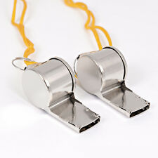 2Pcs Referee Coach Football Sports Training Survival Metal Whistle with Lanyard
