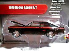 Johnny Lightning 2.0, '76 Dodge Aspen R/T, Black, Release10, All Metal,Rub Tires
