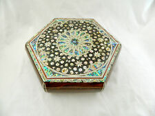"Egyptian Inlaid Mother of Pearl Paua Shell Jewelry Box 9.75"" #167 WOW!!!"