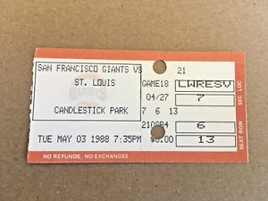 Ozzie Smith 1,500th Game #1500 May 3 1988 5/3/88 Giants Cardinals Ticket Stub