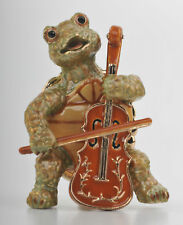 Keren Kopal Bejeweled Turtle Playing Cello w Swarovski Crystals Trinket Box