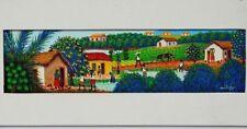 Naive Kunst Tempera Acryl Leinwand signiert Mitake Landschaft Feldarbeit 56x24cm
