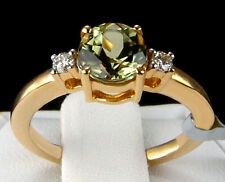 Genuine Color Change Csarite Solitaire with Diamonds 14k Solid Gold Ring Size 5