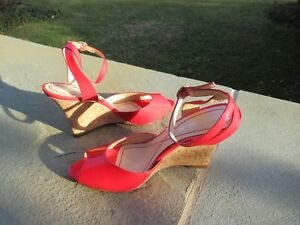 New Enzo Angioilini Red Patent Leather Open Toed Wedge Ankle Strap Sandals/7.5 M
