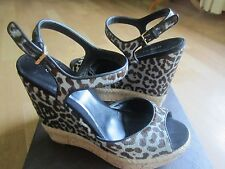 Gucci Leopard Print Calf Hair Espadrille Wedge Sandal shoes size 9.5