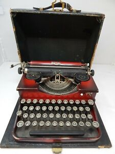 Antique Vintage Royal Portable Typewriter Red with Protective Carrying Case