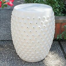 International Caravan-OPG-070-AW-Perforated Antique White Drum Ceramic  Stool