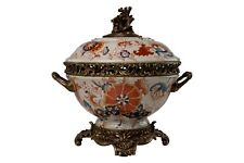 Beautiful Imari Style Porcelain Tureen Jar Brass Ormolu Accents 12""