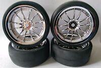 RC Car 1/10 EP 26mm 3mm OFFSET Wheel Rim insert SLICKS Tyre Tire 12 Spoke Chrome