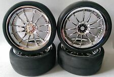 RC Auto 1/10 EP 26mm 3mm Offset CERCHIONI inserire LUSTRI PNEUMATICO 12 Spoke Chrome