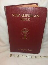 New American Bible- Red- Giant Print- Color Illustra- Saint Joseph Edition- EUC