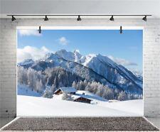 7x5ft Winter Snow Scenic Mountain Photography Backgrounds Vinyl Photo Bakdrops