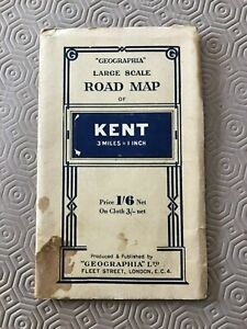 """Vintage Geographia Large Scale Road Map - KENT - 3 miles to 1"""""""