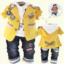 Toddler Boy 3 PC Outfit Set Party Suit Size1-6 Years Jacket+ Top+ Jeans!Hoodie