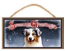"Australian Shepherd (Aussie) Dog ""Season's Greetings"" Dog Sign / Plaque featurin"