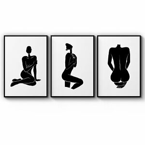 Set of 3 Nude Silhouette Abstract Woman Wall Art