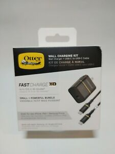 OtterBox Wall Charging Kit 30 Watt Fast Charge USB-C to C 1 Meter Cable - Black
