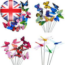 20 Pieces Garden Butterflies Stakes and 4 Dragonflies Ornaments for Yard Patio P