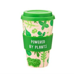 'Powered By Plants' Reusable Bamboo Coffee Cup, Pink & Green Leaf Travel Mug
