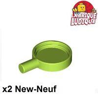 Lego - 2x Minifig utensil poele frying pan vert citron/lime 4528 NEUF