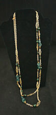 Lovely Vintage Sign Miriam Haskell Art Deco Chain Malachite Flapper Necklace 68""
