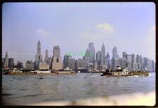 Original Slide 1961 NYC SKYLINE Lower Manhattan RED STAR TUGBOAT Kodachrome