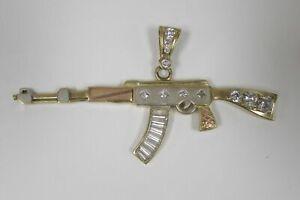 Large Rifle Gun AK-47 14K Gold Pendant 10.9 grams