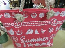 Summer Beach Large Tote Pink Bag With White Nautical Imprint  NWT