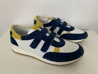 Boys Trainers Size 2.5 White Leather Blue Suede Accent BNIB RRP £150 By il gufo