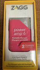 Zagg Power Amp Bank 6 Portable Battery Charger w/ Flashlight - 6000mAh - Pink