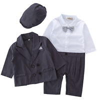 Stylesilove Baby Boy 3pcs Tuxedo Set Formal Wear Romper, Jacket & Hat 3-24 Month