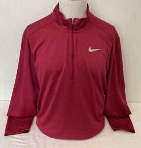 Nike Running Dri-Fit Red Zip Neck Long Sleeve Light Running Top - XL