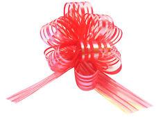 Red Pom Pom Bow Small x 1 Organza