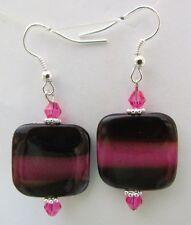 Plum fuchsia stripe Mother of pearl dangle drop earrings 1 PR  dare2gobare