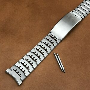 rare 19mm Bulova Solid-Link Stainless Steel nos 1970s Long Vintage Watch Band
