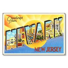 Newark New Jersey Nj Vintage Postcard Metal Sign Wall Decor Steel not tin 36x24
