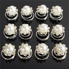 6 Hairpins Pearl Flowers Deb Bridal Wedding Flowergirl Debutante Bridesmaid NEW