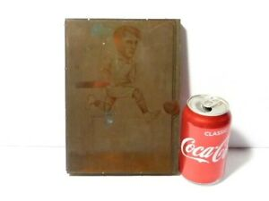 c1910 Eton Society Engraved Copper Printing Plate Cricketer Footy Caricature