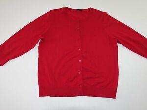 J. Crew Men's Cardigan Sweater Size XL 3/4 Sleeves Red 100% Pima Cotton X Large