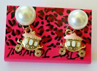 Betsey Johnson Crystal Rhinestone Enamel Pearl Carriage Post Earrings
