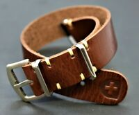 Leather Strap, Military Army Watch Band fits Rolex Handmade, 18-24mm Gift OTAN